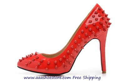 Christian Louboutin Pigalle Spiked Pointed-Toe Red Sole Pump Red Woman Shoes www.aaashoestore.com Fr