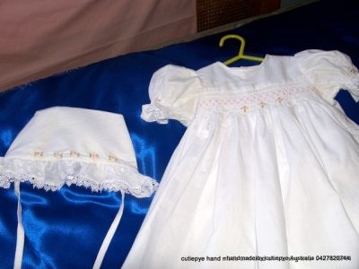 smocked christening rompers and gowns by cutiepye 0427820744