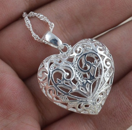925 Sterling Silver CZ Heart Necklace Pendant