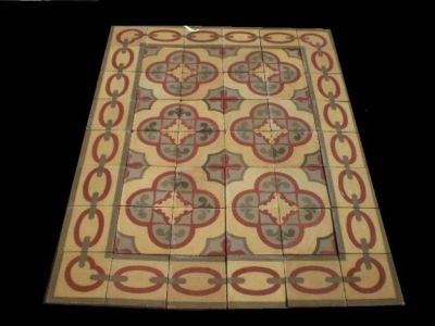 ANTIQUE SPANISH CEMENT PATTERNED FLOOR TILES