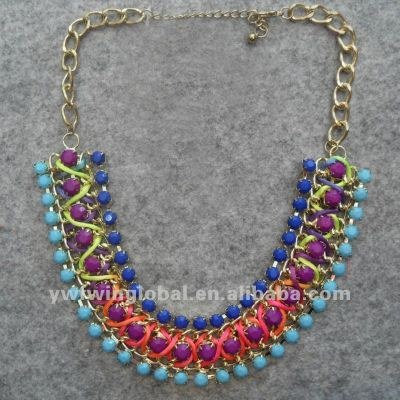 2013 fashion multi-color resin with ribbon handmade necklace