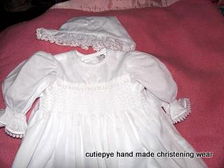 christening wear smocked handmade hand  embroidered